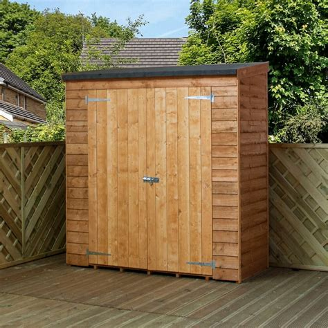 mercia garden products  ft    ft  wooden overlap pent storage shed reviews wayfair