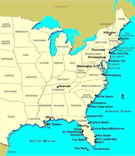 map east usa and canada east coast canada usa map
