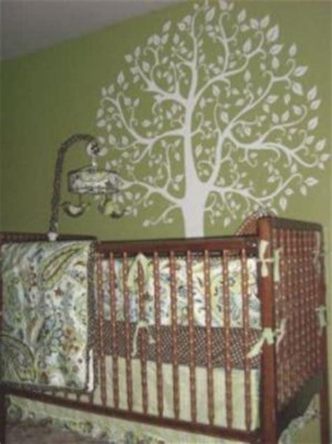Green Paisley Tree Theme Baby Nursery Nature Themed Crib Bedding