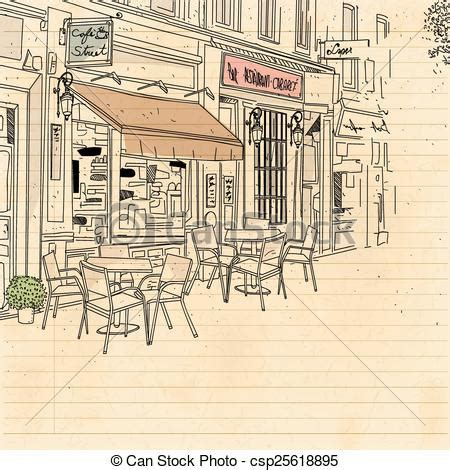street sketchbook street graphics 0500513627 cafe street eps vectors search clip art illustration drawings and images csp25618895