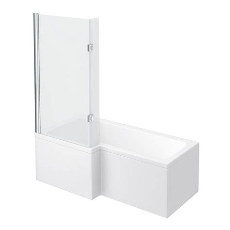 l shaped bath shower screen milan shower bath 1700mm l shaped with hinged screen