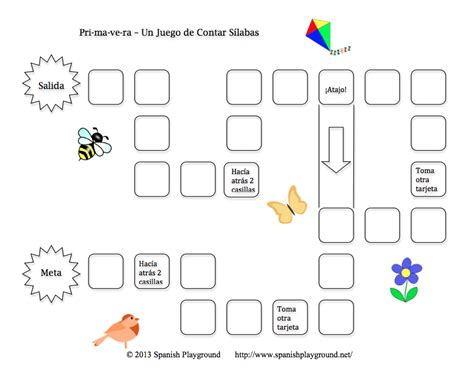 printable syllable games printable spanish game for kids primavera clap and count