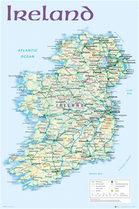 printable road maps ireland map of ireland 2012 poster print ebay