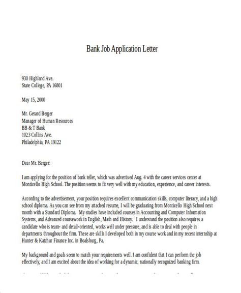 application letter sle bank teller application letter for bank internship 28 images 7