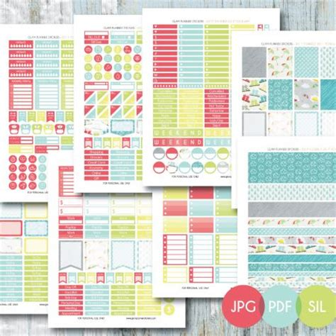 free printable planner set free monthly printable planner stickers set rainy day 2