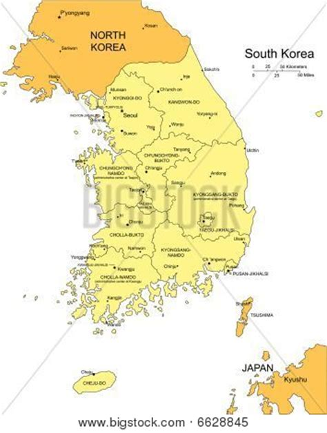 map of korea and surrounding countries south korea with administrative districts and surrounding