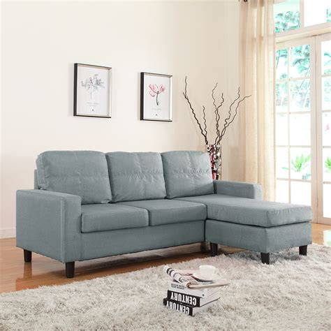 Grey Sectional Sofa by Modern Linen Fabric Light Grey Sectional Sofa Small Space