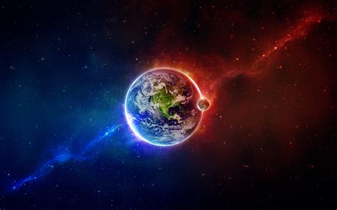 wallpaper blue earth red and blue earth space wallpaper