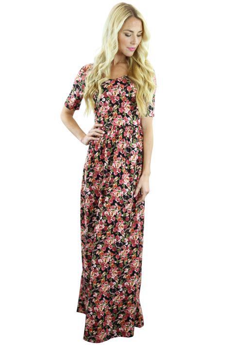 Maxi Miranda miranda modest maxi dress in small floral print