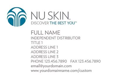 Nu Skin Business Card Template by Nu Skin Business Card Choice Image Business Card Template