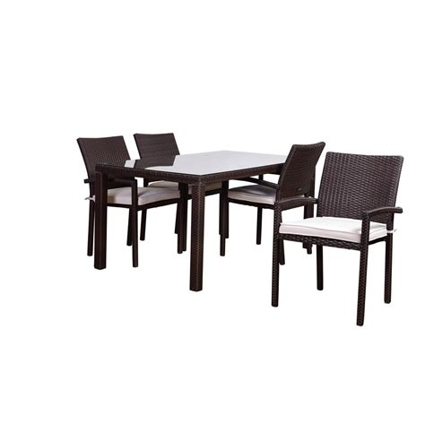 5 Wicker Patio Dining Set by Oakland Living Elite Resin Wicker 5 Patio Dining Set