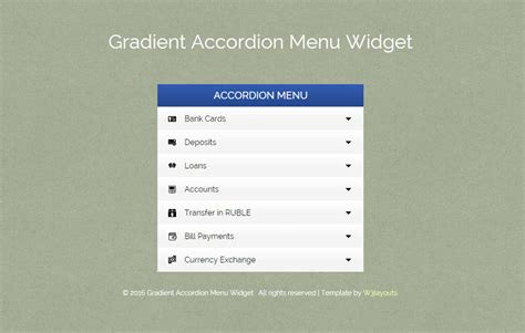 responsive design menu exles gradient accordion menu responsive widget template