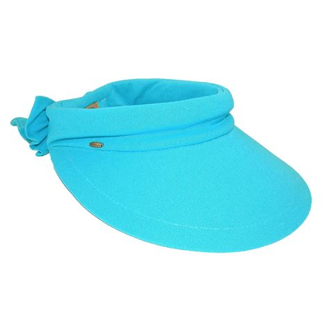 womens cotton 4 inch brim facesaver visor hat by scala