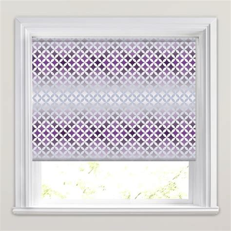 retro patterned roller blind lilac purple silver white retro diamond patterned