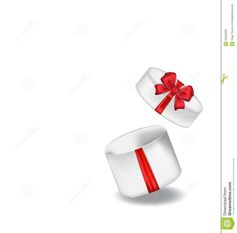 Gift Opening - open gift box with bow on white background stock