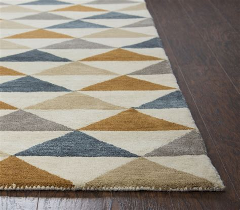 triangle pattern area rug marianna fields triangle pattern wool area rug in blue