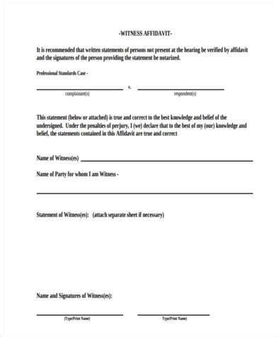 witness affidavit form template 7 witness affidavit form sles free sle exle