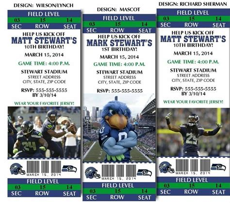 printable nfl tickets 8 seattle seahawks football birthday party ticket