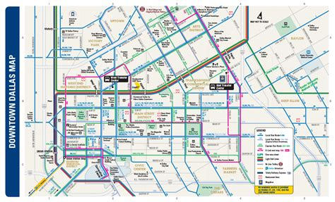 map of downtown texas dart org downtown dallas routing and places of interest map