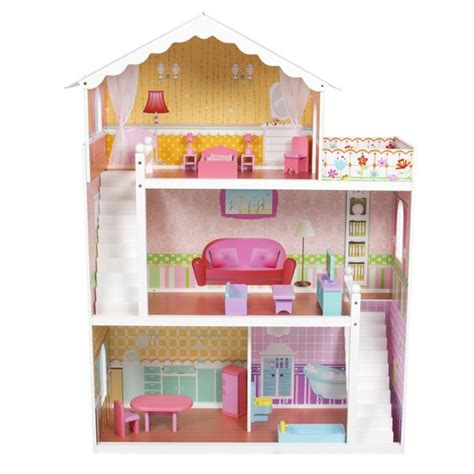 large wooden doll house large children s wooden dollhouse fits barbie doll house pink with furniture barbie