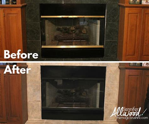 how to paint your fireplace brass trim and ugly tile