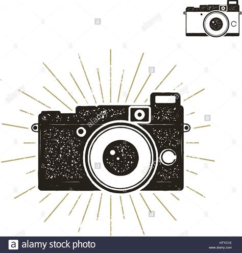 retro vintage style icon collection stock illustration hand drawn vintage camera label with sunbursts old style
