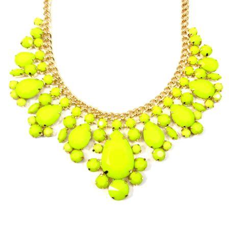 Yellow Neckles neon yellow teardrop gemstone bib necklace