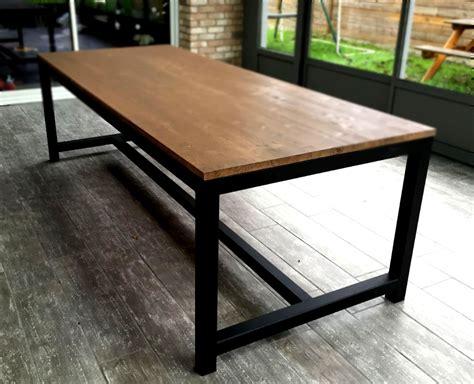 table bois et metal salle manger table salle a manger bois metal cuisine naturelle