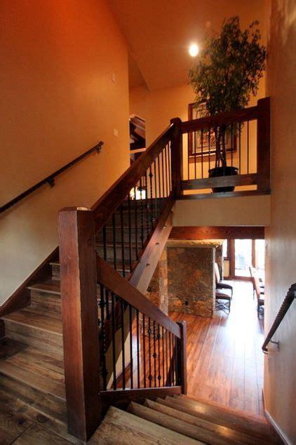 wood railings rustic stair railing stairway design
