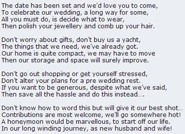 wedding poems for money instead of gifts the o jays poem and honeymoons on