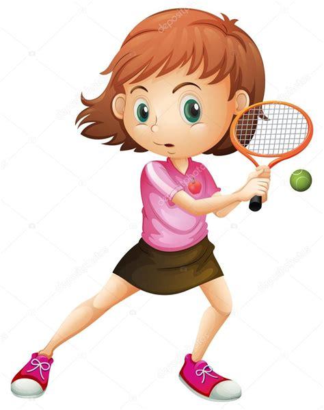 dibujos de niños jugando tenis una ni 241 a jugando al tenis vector de stock