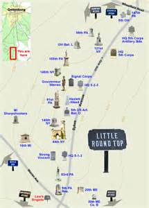 tour map of top on the gettysburg battlefield
