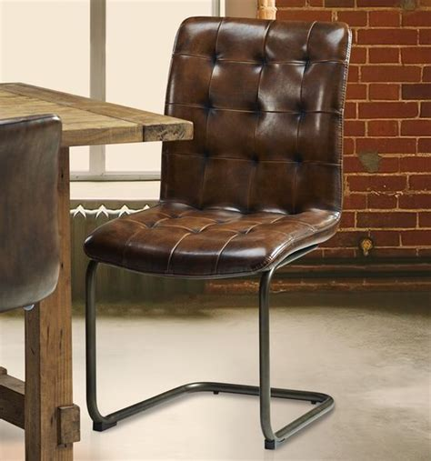 Vintage Tall Leather Dining Chair Vintage Leather Chair Leather And Metal Dining Chairs