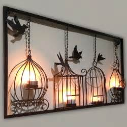 wall art birdcage tea light wall art metal wall hanging candle
