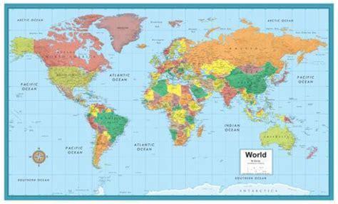 printable world cities map laminated world map ebay