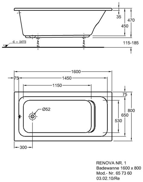 badewannen abmessungen keramag renova nr 1 badewanne 160 x 80 cm 657360000 megabad