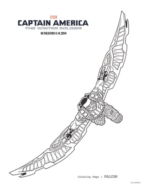 captain america the winter soldier falcon coloring page