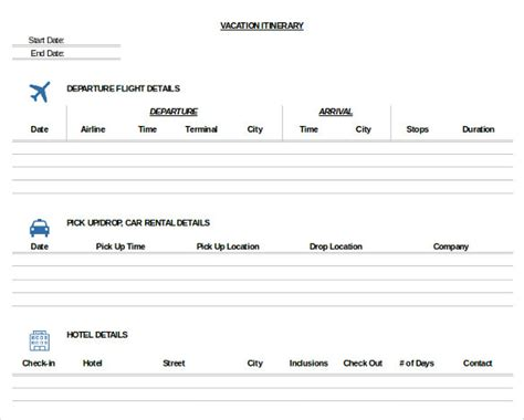 trip itinerary templates   excel