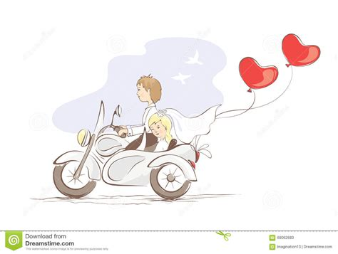 Wedding On Motorcycle Clipart by Card Just Married On A Motorcycle Stock Vector