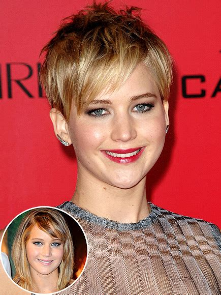 is jennifer lawrence hair cut above ears or just tucked behind celebrities with pixie cuts celebrity short haircuts