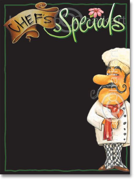 chef s specials menu board template art shop
