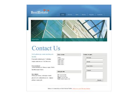 Website Templates For Contact Us Pages | commercial real estate web template pack from serif com
