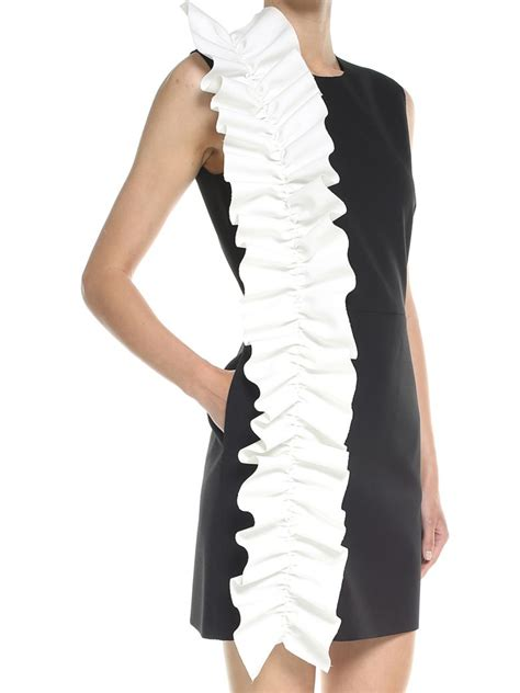 Msgm Dress msgm black contrast ruffle shift dress in black white