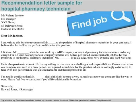 Recommendation Letter For X Technician hospital pharmacy technician recommendation letter