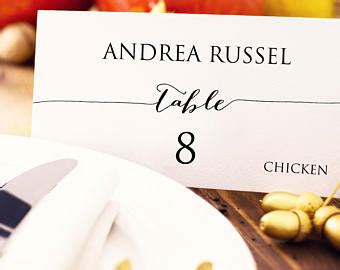 place cards with meal choice template wedding place cards etsy