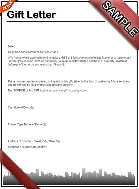 Gift Letter Recommendation How To Write A Gift Letter Sle