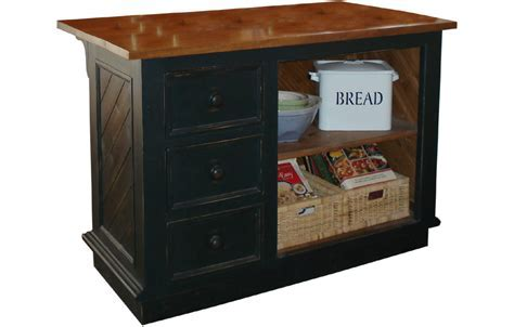 French Country Kitchen Island Three Vertical Drawers