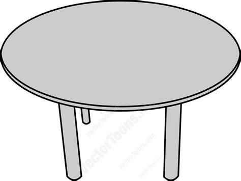 Top view of a round table vector clip art cartoon