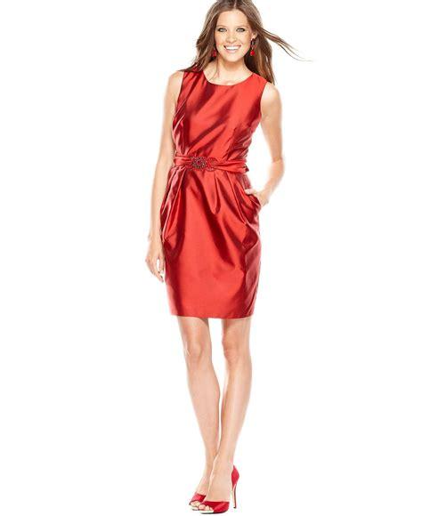 alex alex evenings dress sleeveless belted bow sheath