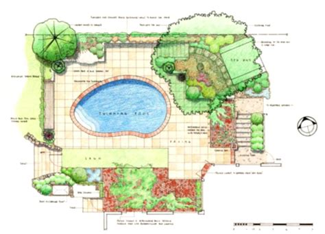 Layout Of Garden Landscaping Design Drawings Plan For Modern Home Concept Homelk